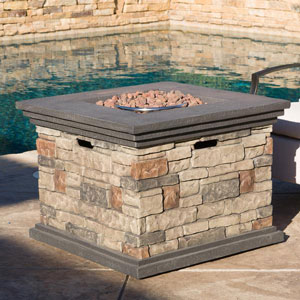 Christopher Knight Home Outdoor Square Stone Fire Pit Table